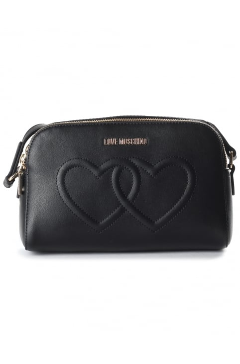 Women's Hearts Small Cross Body Bag Black