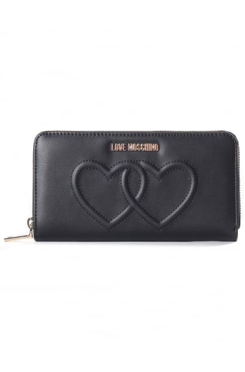 Women's Hearts Zip Around Purse Black