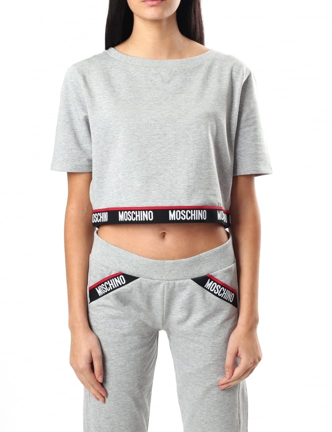 Moschino Women's Logo Trim Short Sleeve Crop Sweat Top