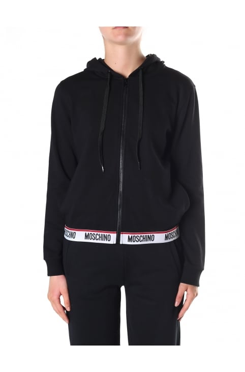 Women's Logo Trim Zip Through Hooded Sweat Top
