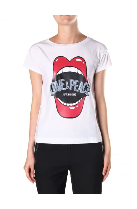 Women's Mouth Love & Peace Short Sleeve Tee