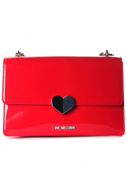 Women's Patent Heart Flap Over Bag Red
