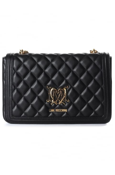 Women's Quilted Foldover Bag Black