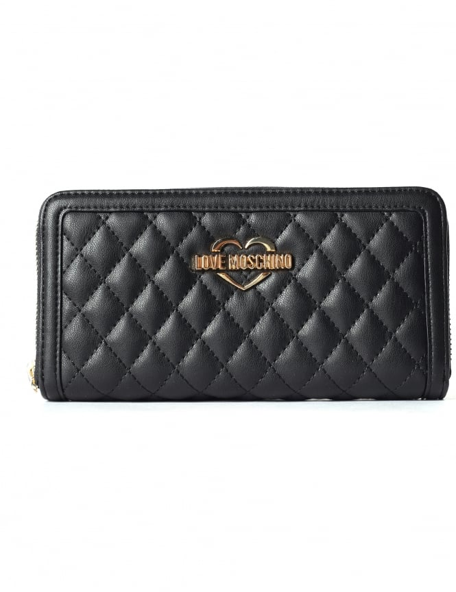 Moschino Women's Quilted Zip Around Continental Wallet