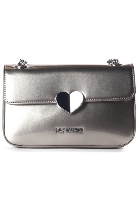 Women's Small Patent Crossbody Bag Silver