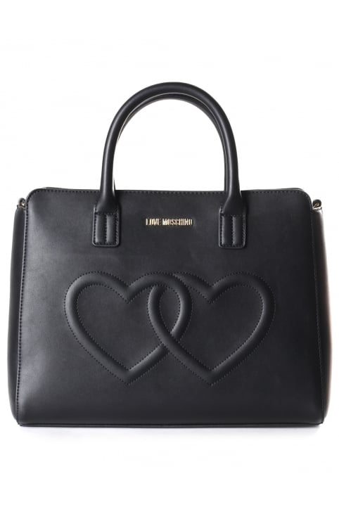 Women's Stitch Heart Tote Bag Black