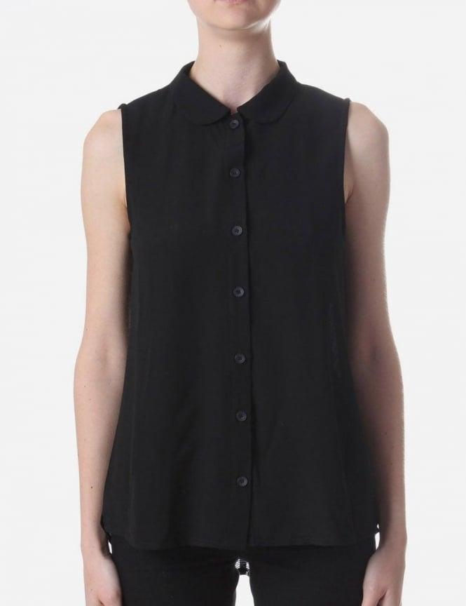 fringe back sleeveless shirt women 39 s black