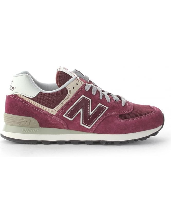 huge selection of de460 0793c New Balance 574 Men's Suede Lace Up Trainers Burgundy
