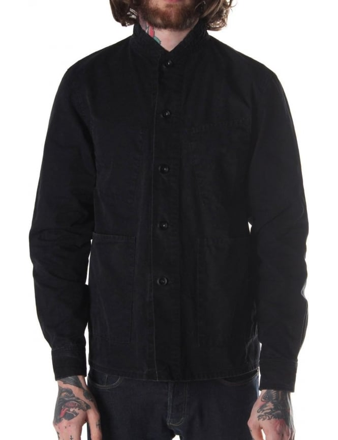 Nudie Jeans Julius Collar Stitch Button Through Men's Jacket Black