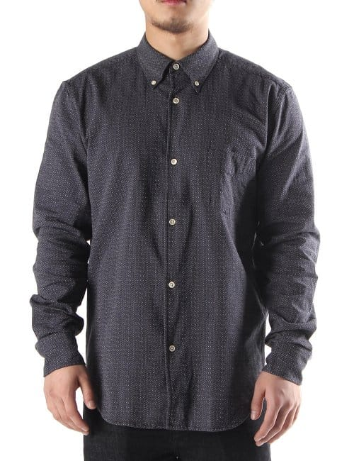 Our legacy 1950 men 39 s button down shirt dark grey for Mens grey button down dress shirt