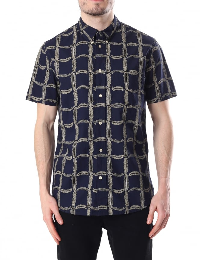Paul Smith Feather Pattern Men's Short Sleeve Shirt