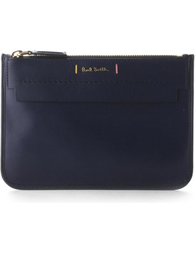 Paul Smith Flat Pouch Women's Leather Wallet Navy