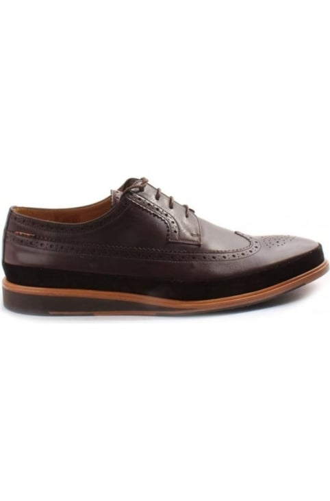 Gordan Suede Trim Men's Longwing Brogues Dark Brown
