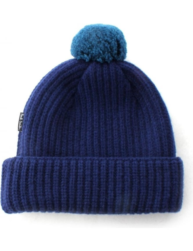 341c07c0bff Paul Smith Knitted Men s Bobble Beanie Hat Navy