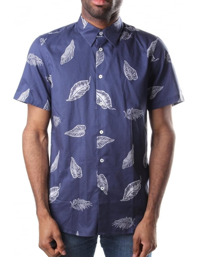 Paul Smith Leaf Print Men's Short Sleeve Shirt