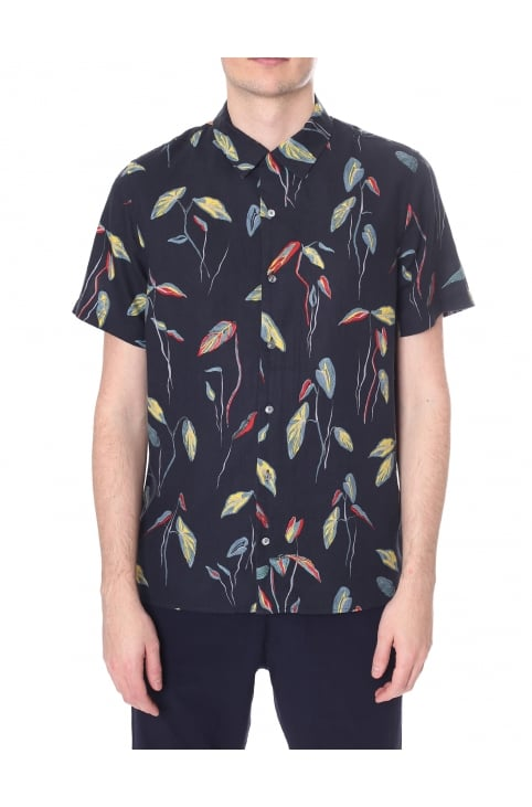 Men's Casual Fit Botanical Print Short Sleeve Shirt