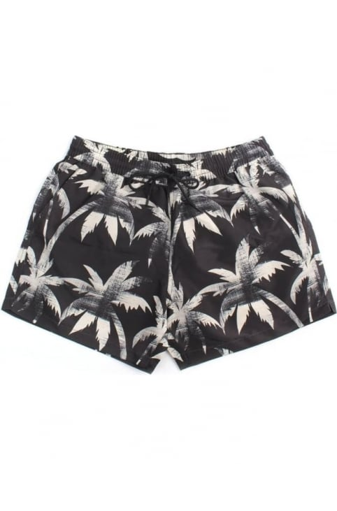 Men's Classic Ink Palm Swim Shorts Black