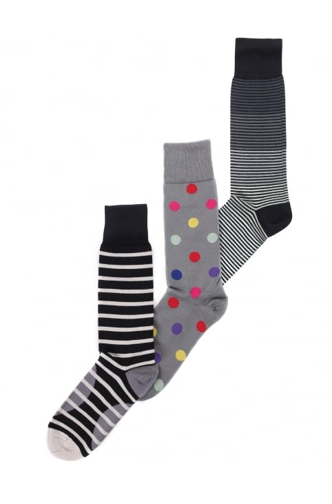 Men's Mixed Stripe & Polka Dot 3 Pack Socks
