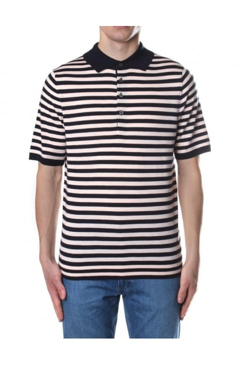 Stripe Knitted Men's Short Sleeve Polo Top