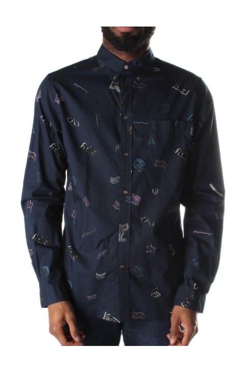 Tailored Fit Men's Long Sleeve Shirt Navy