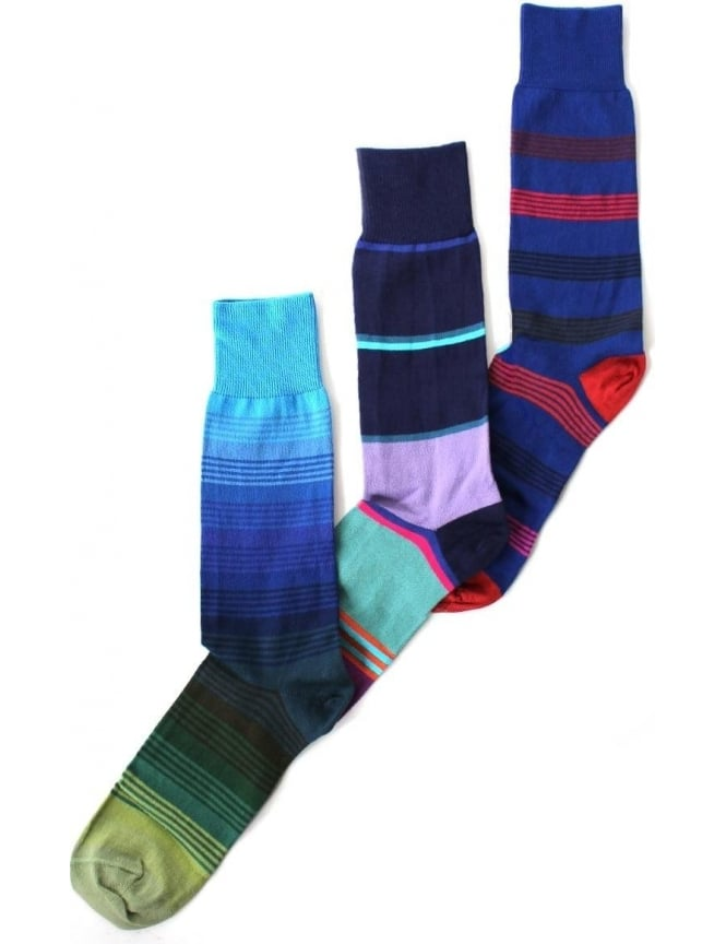Paul Smith Varied Stripe Men's 3 Pack Socks Blue