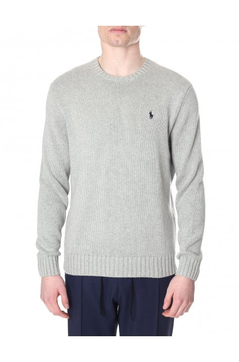 3ff70fdf0029a Crew Neck Pullover Knit Jumper · Polo Ralph Lauren Men s Crew Neck Pullover Knit  Grey Heather