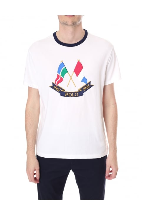 Men's Embroidered Flag Crew Neck Short Sleeve Tee