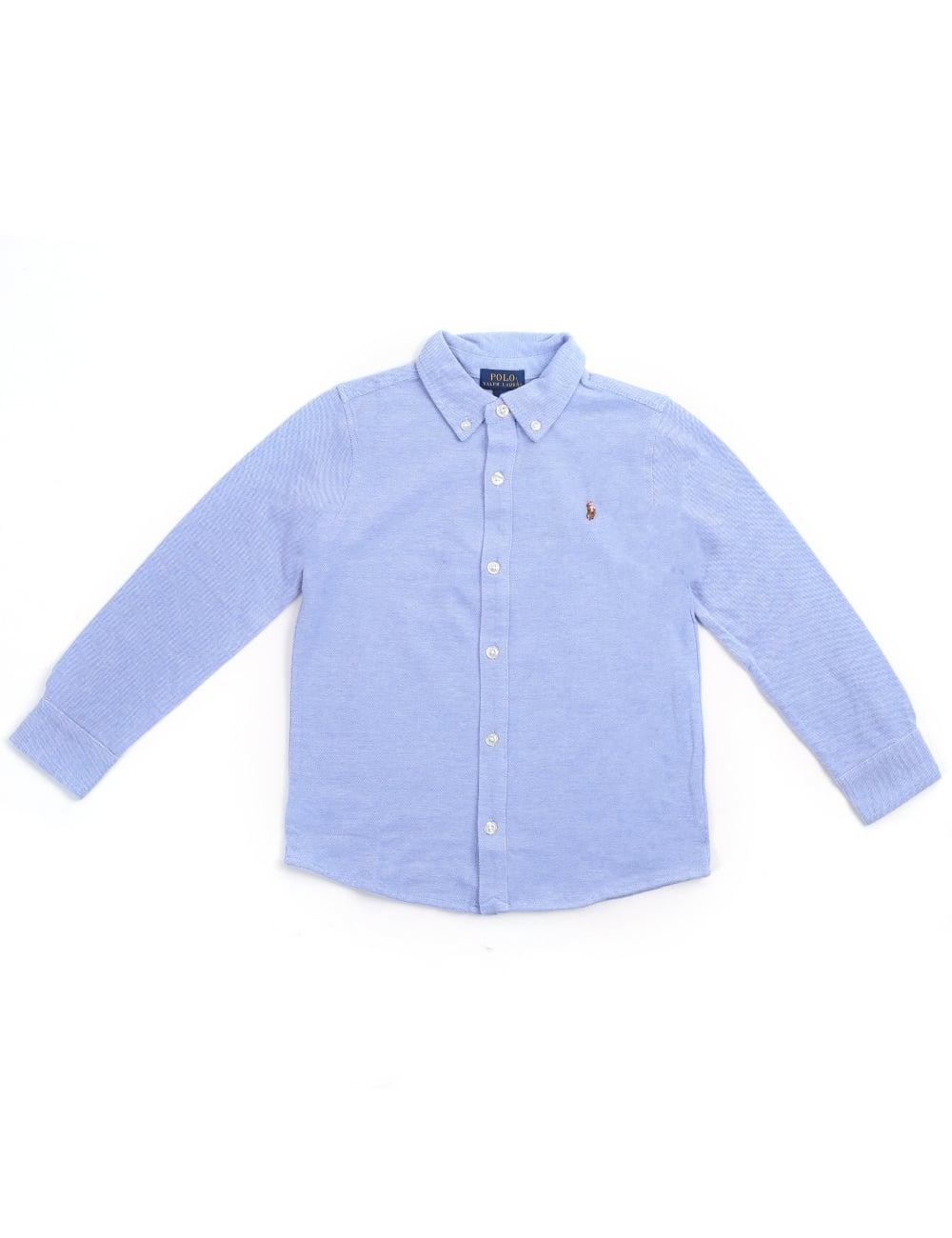 Long Oxford Polo Sleeve Knit Older Boys Ralph Lauren Shirt 5Rj34AL