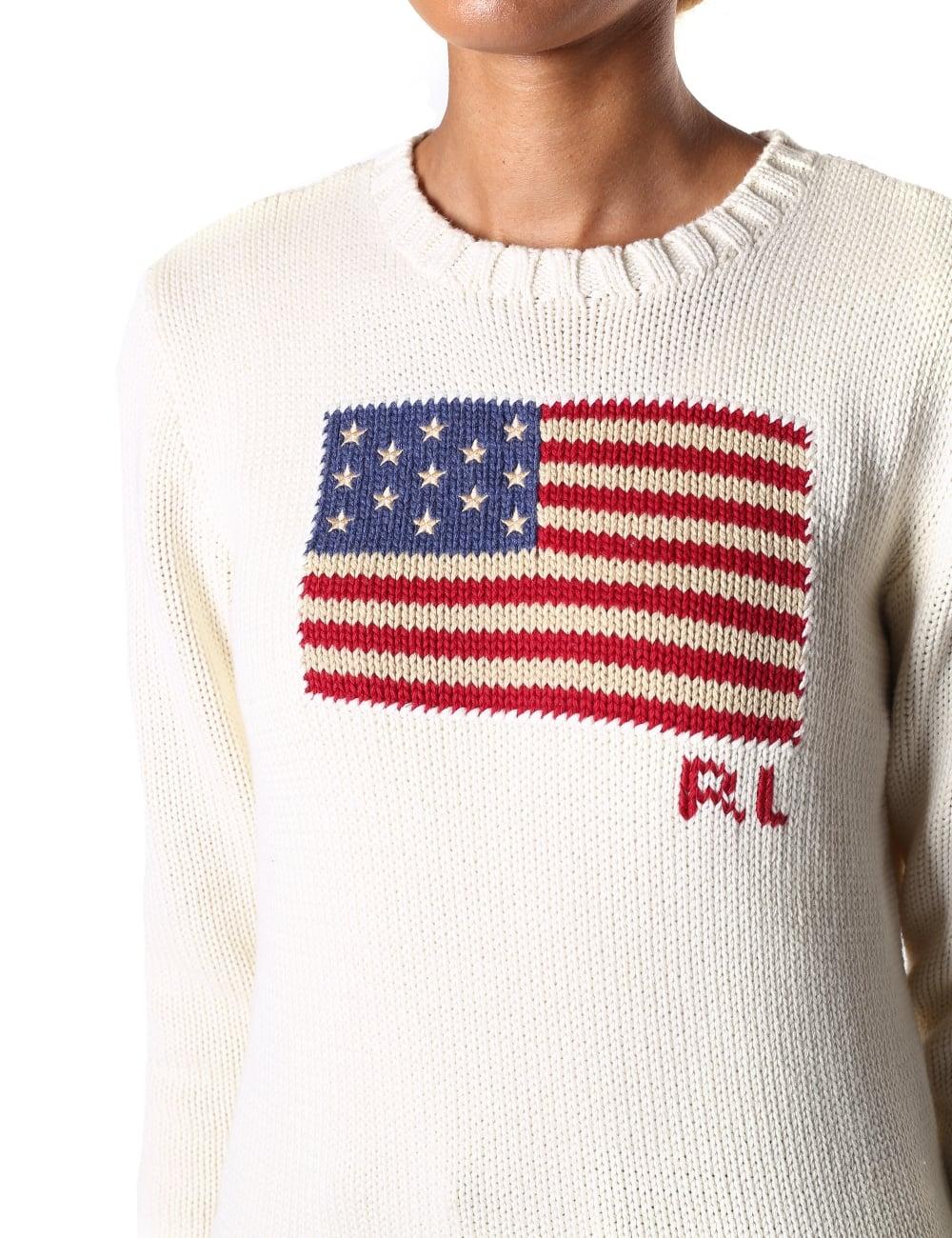 Ralph Knit Lauren Women's Sleeve Neck Usa Polo Long Crew Flag 35AcRj4Lq