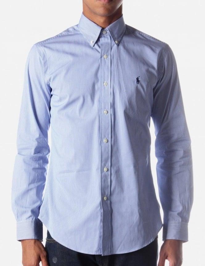 Preferred Ralph Lauren Custom Fit Men's Pinstripe Shirt Blue & White RF55