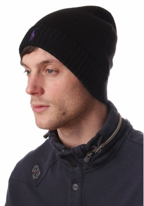 Ralph Lauren Merino Men s Logo Beanie Hat Black - Accessories from  Diffusion UK cd30b92d8d4