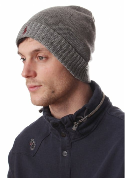 Ralph Lauren Merino Men s Logo Beanie Hat Grey - Men from Diffusion UK 738268d69