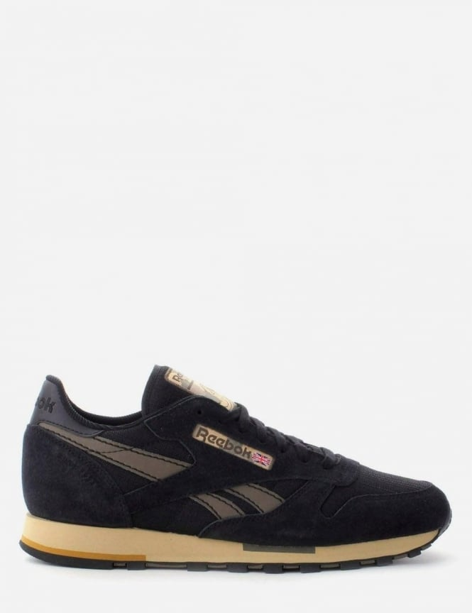 reebok cl leather suede black