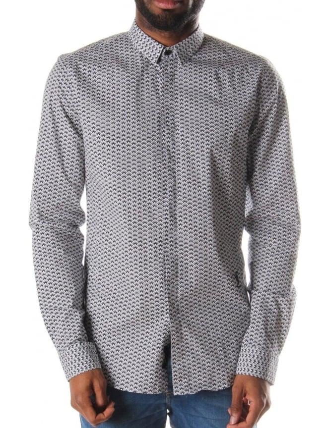 Religion deco men 39 s long sleeve printed shirt white black for Mens medium long sleeve shirts