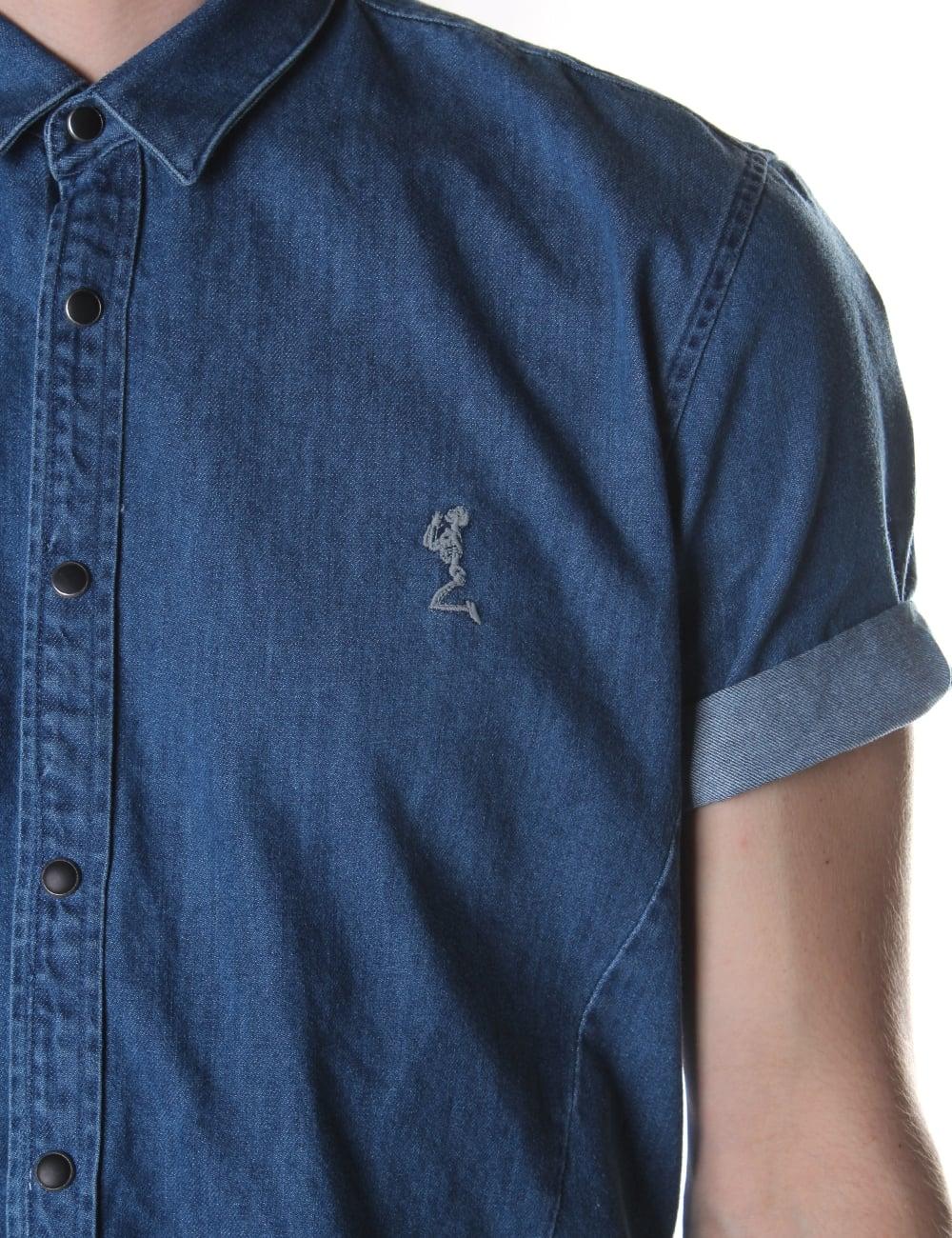 b114fcee9f Religion Disturb Men s Short Sleeve Denim Shirt