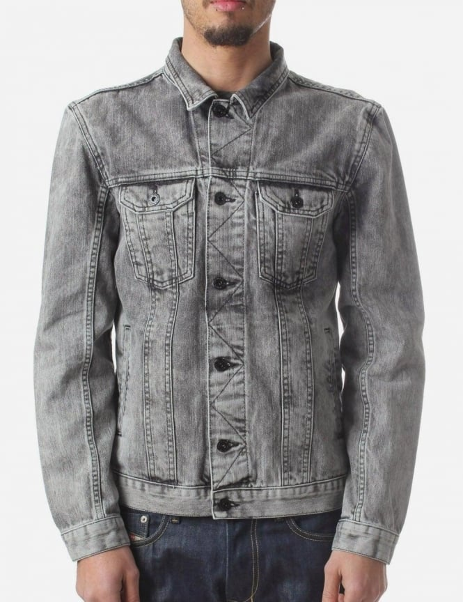 Religion Escape Men's Denim Jacket Mid Grey