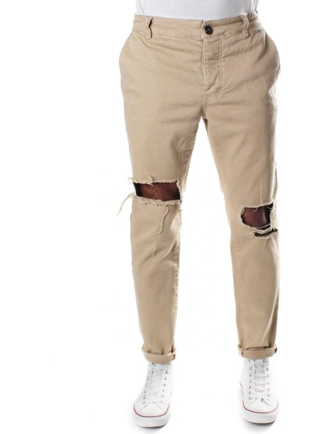 Religion Men's Bloody Chino With Rips Tan