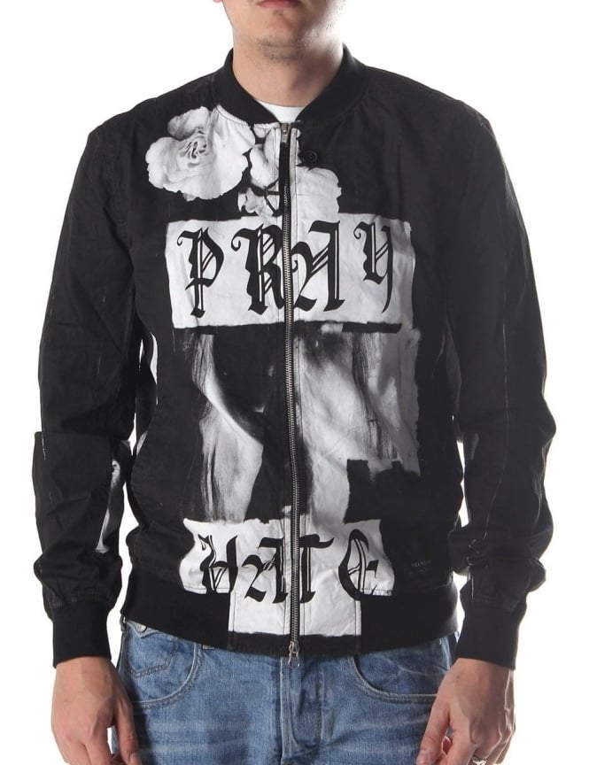 Religion Pray Hate Men's Jacket White/Black