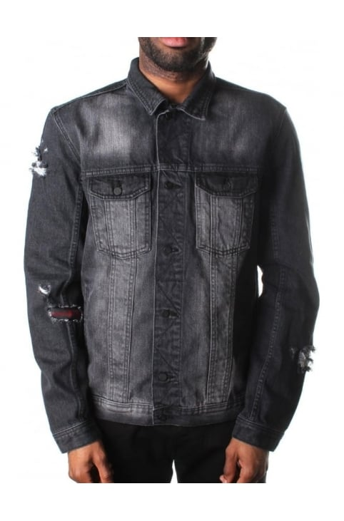 Ripped & Repairs Men's Patch Denim Jacket Washed Black