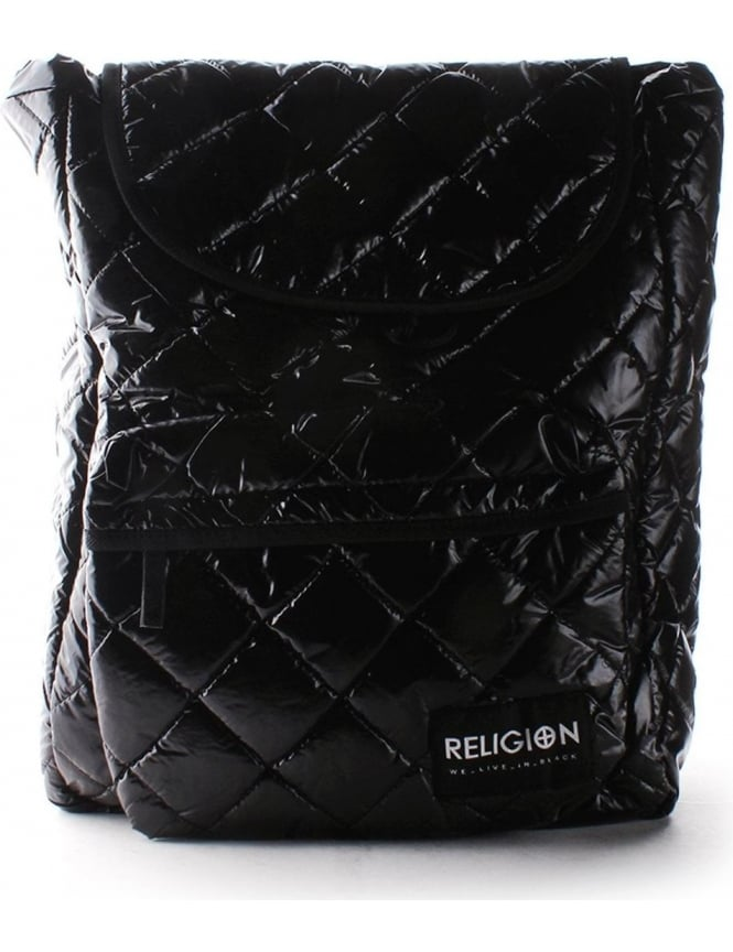 Religion Shiny Nylon Women S Quilted Backpack Black