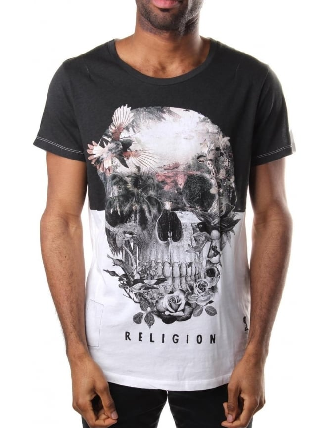 fd4a5616b1e Religion Skull Illusion Men s Scoop Neck Tee White