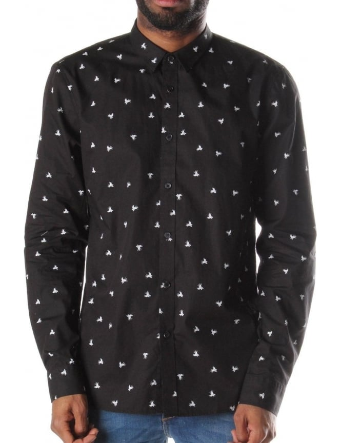 Religion Stinger Men's Long Sleeve Printed Shirt Black/White