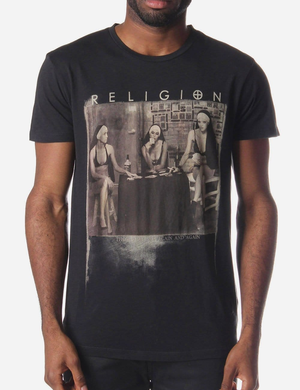 Religion Strip Poker Men S T Shirt Washed Black