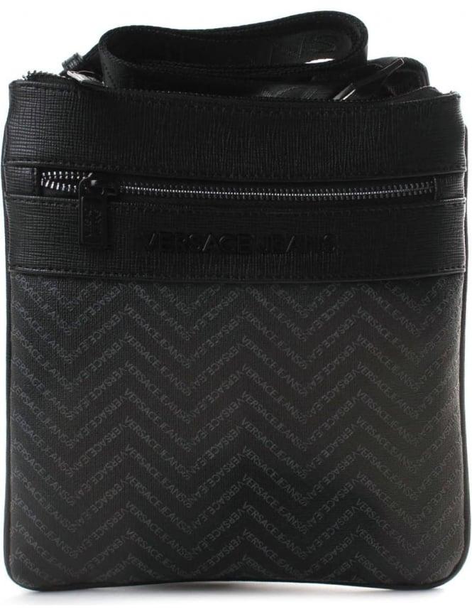 aca0805c Versace Jeans Repeat Logo Men's Satchel Bag Black