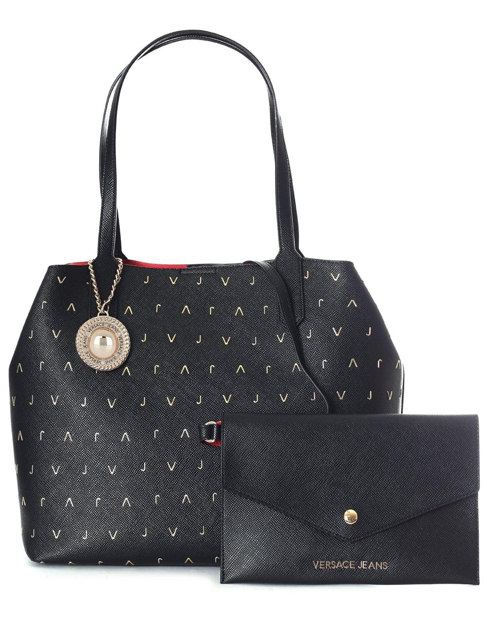 e9ab64c83 Versace Jeans Repeat Metallic 'VJ' Logo Women's Tote Bag Black