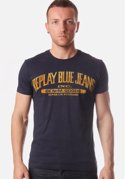 Replay blue jean print men 39 s t shirt navy for Replay blue jeans t shirt