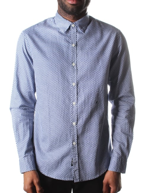 Replay diamond print men 39 s shirt blue for Diamond and silk t shirts