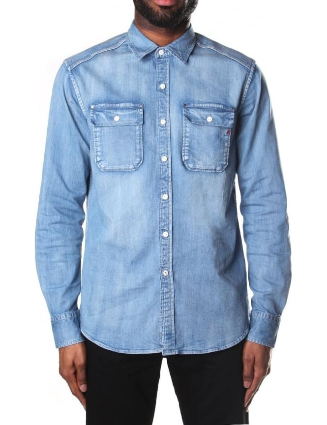9676c49c1 Replay Men's Long Sleeve Denim Shirt