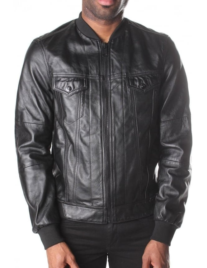 Replay Men's Zip Through Leather Jacket