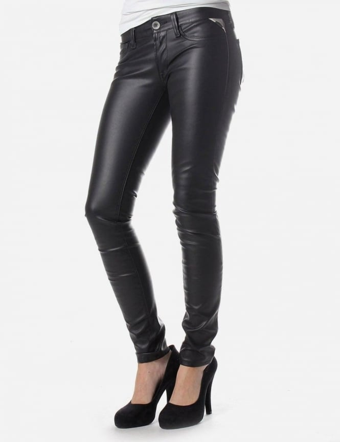 Official Website cheap for discount beautiful style Replay Skinny Fit Women's Faux Leather Trousers Black